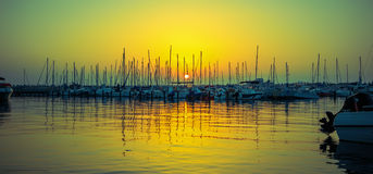 Yacht club da noite Foto de Stock Royalty Free