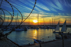 Yacht club da noite em Ashdod Imagens de Stock