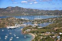 Yacht club dell'Antigua da sopra Immagini Stock Libere da Diritti