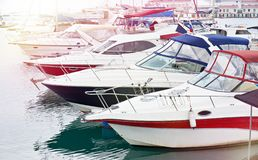Yacht club do mar fotografia de stock royalty free