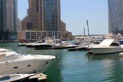 Yacht Club Dock Dubai. Dubai Marina Dock with Yacht royalty free stock image
