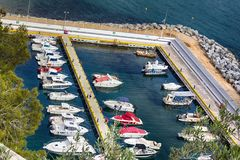 Yacht club with large number of boats, yachts, sailboat royalty free stock photos