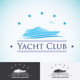 Yacht club, logo design template. sea cruise, tropical island or vacation logotype icon Royalty Free Stock Photography