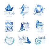 Yacht club since 1969 logo original design set, elements company logo, business identity blue watercolor vector royalty free illustration