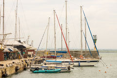 Yacht club near the sea port of Burgas in Bulgaria Stock Image