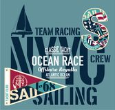 Yacht club racing sailing offshore regatta. Vector artwork for boy print and embroidery Royalty Free Stock Image