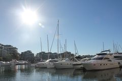 Yacht Club. Yachts in the foreground with apartment blocks all around the harbour edge, afternoon sun. Lifestyle royalty free stock photo