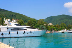 Yacht on the coast of Budva Stock Photos