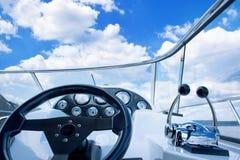 Yacht cockpit. View from yacht cockpit on a sunny blue sky Stock Image