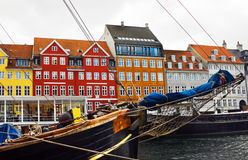 Yacht and color buildings in Nyhavn, Copenhagen Royalty Free Stock Images