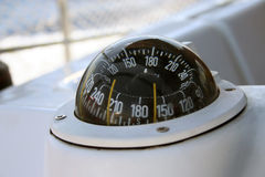 Yacht compass. Photo of a yacht compass taken under angle while sailling Stock Photos