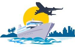 Yacht con il volo dell'aeroplano royalty illustrazione gratis