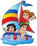 Yacht con tre bambini Fotografia Stock