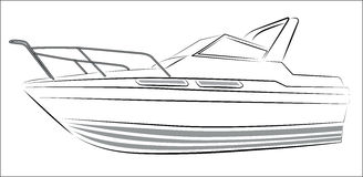 Yacht Contour Silhouette. Modern Yacht Contour Silhouette isolated on white Royalty Free Stock Photos