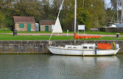 A Yacht In A Countryside Setting. Royalty Free Stock Photo