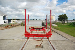 Yacht crane on rails at dry dock Royalty Free Stock Photography