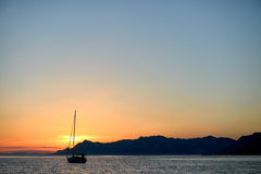 Yacht. In Croatia during sunset Royalty Free Stock Photography