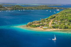 Yacht cruising Kingdom of Tonga,  from above Stock Images
