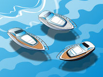 Yacht on the crystalline. Royalty Free Stock Image