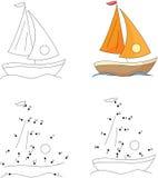 Yacht de bande dessinée Livre de coloriage et point pour pointiller le jeu pour des enfants illustration de vecteur