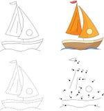Yacht de bande dessinée Point pour pointiller le jeu pour des enfants illustration stock