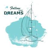 Yacht de croquis avec des vagues d'aquarelle Photographie stock