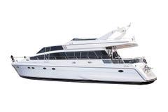 Yacht de luxe blanc de taille moyenne d'isolement photos stock