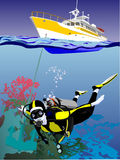 yacht de plongée Photo stock