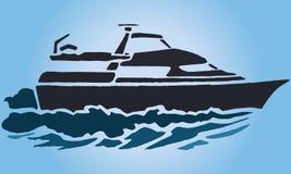 Yacht de pochoir d'illustration sur les vagues Photo libre de droits