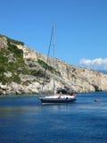 Yacht de touristes à bord Images stock