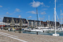 Yacht in Deauville, France stock photos