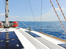 Yacht deck in blue Adriatic sea Royalty Free Stock Photography