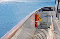 Yacht deck with blue sea Royalty Free Stock Images