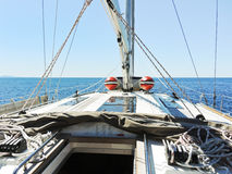 On yacht deck in calm sea Stock Photography