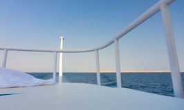 The yacht deck during sailing on a beautiful blue sea Stock Photos