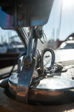 Yacht deck. A small yacht white deck Royalty Free Stock Images