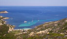 Yacht del mare della Francia di punto di vista di Sun della spiaggia di Corse fotografie stock