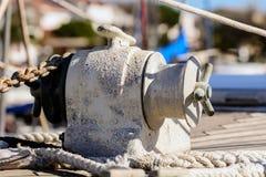 Yacht del verricello dell'ancora Fotografie Stock