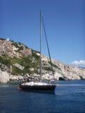 Yacht der Touristen an Bord Stockfoto