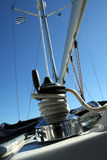 Yacht detail. Detail of a yacht on blue sky background Royalty Free Stock Photo