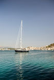 Yacht di lusso vicino all'isola di Poros, Grecia Fotografie Stock