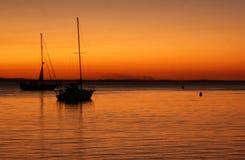 Yacht di tramonto Fotografie Stock Libere da Diritti