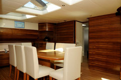 Yacht Dining Area Interior - Skylight - Family_Friends Royalty Free Stock Photography