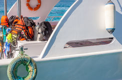 Yacht with diving equipment Stock Photo