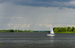 Yacht on the Dnieper River Stock Photo