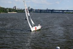 Yacht on Dnipro River stock photos