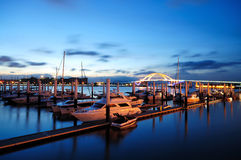 The yacht dock. In evening stock images