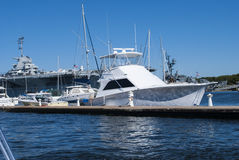 Yacht at dock Stock Image