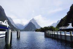 The yacht dock in New Zealand Lake Tekapo Stock Photos