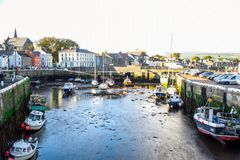Yacht docking at canal in a small town of Douglas, Isle of Man. Stock Photography